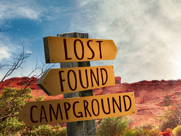 Signboard in the Desert Lost-Found-Campground